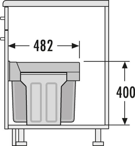 hailo abfallsammler tandem 3666 19 vollauszug 1 x 15 2 x. Black Bedroom Furniture Sets. Home Design Ideas